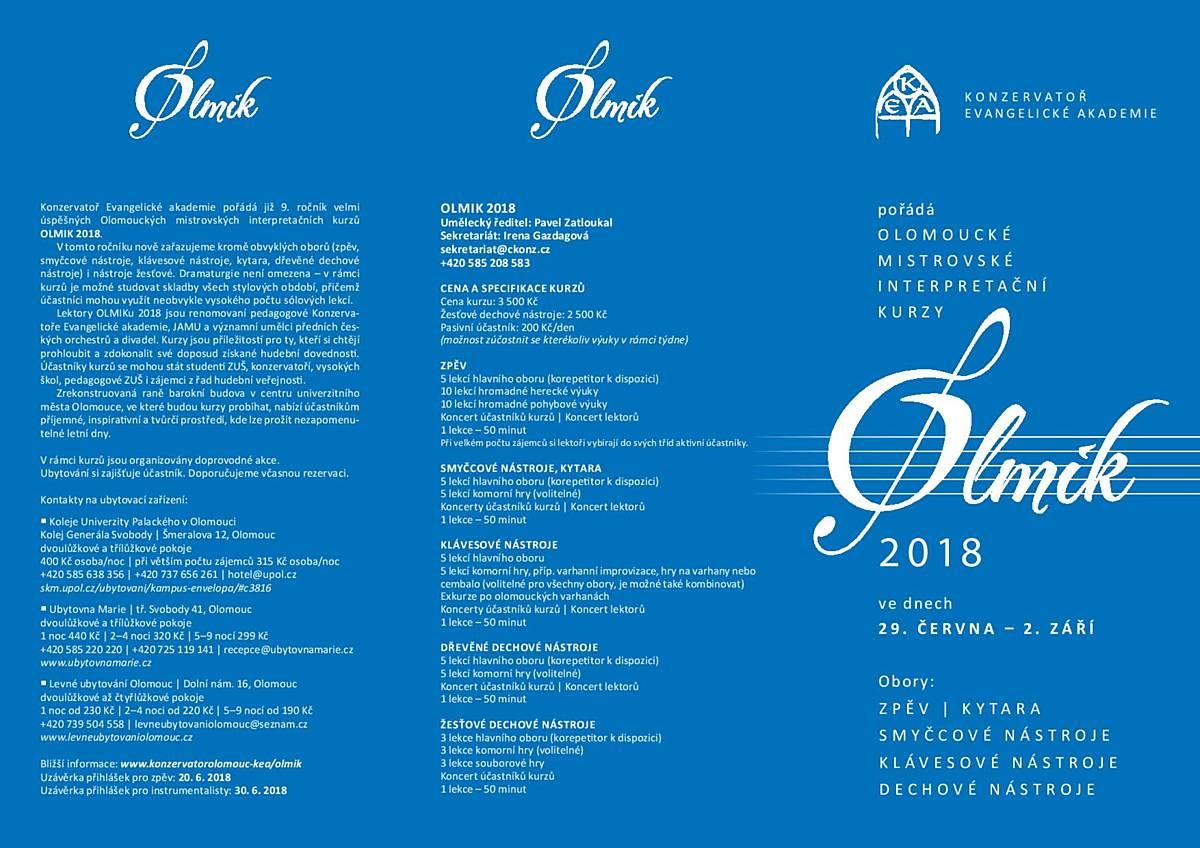 Olomoucké mistrovské interpretační kurzy - smyčcové nástroje, kytara, klávesové nástroje