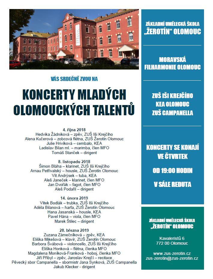 Koncerty mladých olomouckých talentů