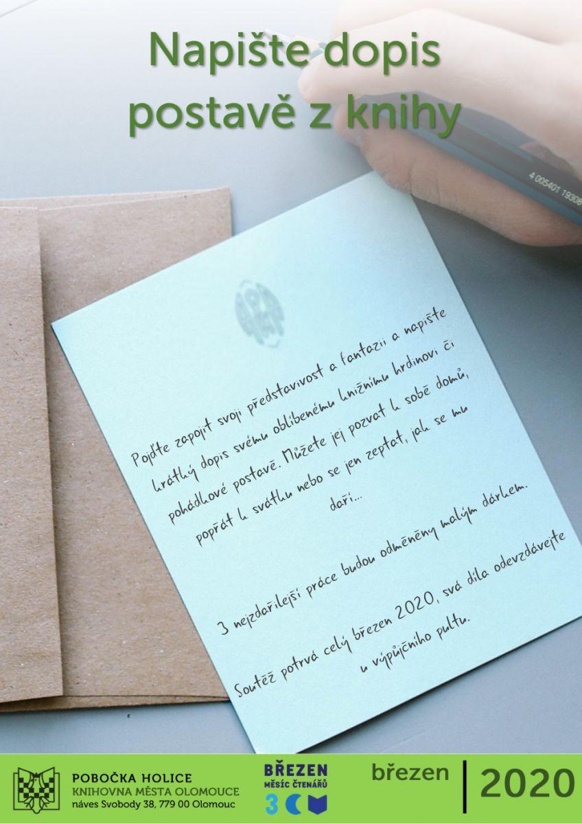 Napište dopis postavě z knihy