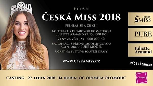 Česká Miss 2018 - casting