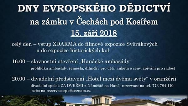 Dny evropského dědictví na zámku v Čechách pod Kosířem