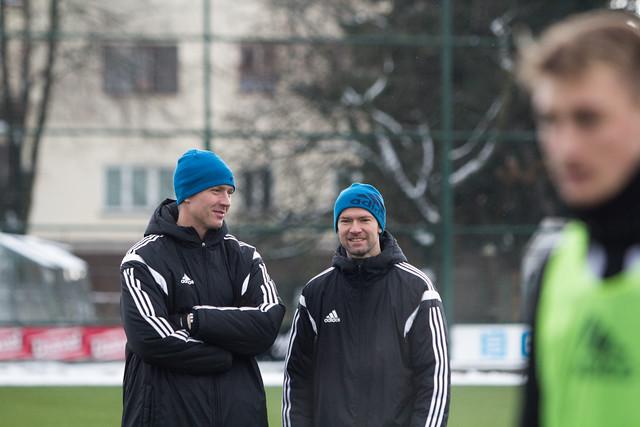 Václav Jílek s Ladislavem Onofrejem na začátku přípravy. Sigmu čeká nyní generálka s Nitrou, zatím však neví, kde se bude hrát. Počasí fotbalu nyní nepřeje.