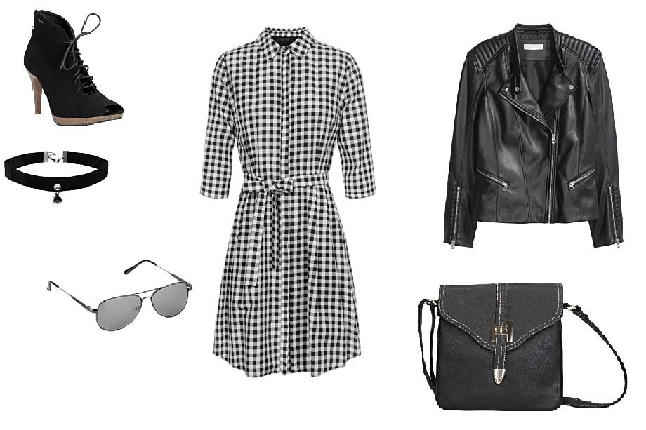 Boty CCC, šaty Orsay, bunda H&M, kabelka CCC, brýle Orsay, náhrdelník H&M