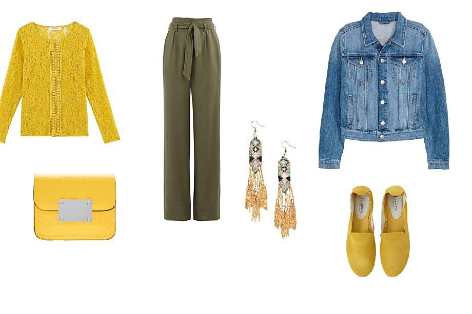Halenka a kalhoty Promod, kabelka Orsay, bunda H&M, boty Promod, náušnice H&M