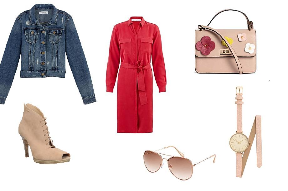 Bunda a šaty Promod, boty CCC, brýle, kabelka a hodinky H&M