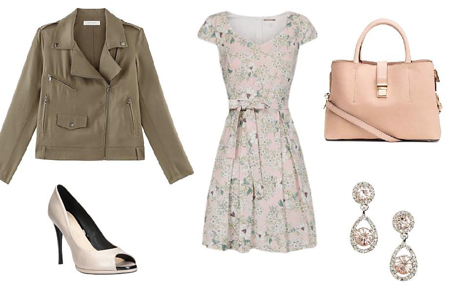 Bunda Promod, boty CCC, šaty Orsay, kabelka CCC, náušnice H&M