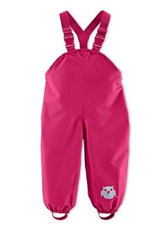Růžové kalhoty do deště, dostupné ve velikostech 74–116. (399 korun)