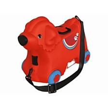 Praktický lehký dětský kufřík na cesty ve tvaru pejska, který děti můžou využít i jako odrážedlo. (Pompo, 799 korun)
