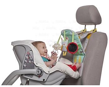 Hrací pultík do auta Taf Toys s hudbou a světélky zabaví vaše miminko na cestách autem a zajistí vám klid při řízení. (Brouček, 849 korun)