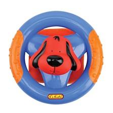 Můj první volant se zvukovými efekty rozvíjí u dětí jemnou motoriku. Otočení volantem je doprovázeno zvukem řehtačky. Pokud zmáčknete hlavu pejska Patrika, uslyšíte zvuk jako při zatroubení. (Pompo, 299 korun)