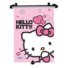 Stínící roletka na okno automobilu s motivem Hello Kitty. Sluneční clonu lze na okno upevnit třemi přísavkami nebo dvěma nastavitelnými háčky. (Brouček, 167 korun za 1 kus)