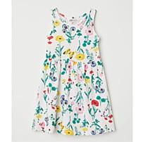 Květinové žerzejové šaty bez rukávů, dostupné ve velikostech 92–164 (129 korun)