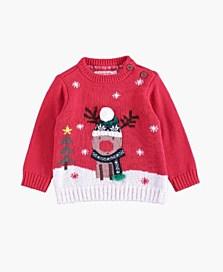 Vánoční svetr se sobem, dostupný ve velikostech 3–18/24 měsíců (299 korun)