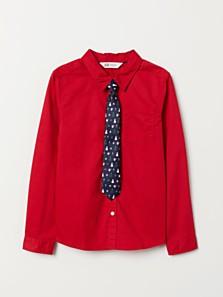 Košile s vánoční kravatou, dostupné ve velikostech 92–140 (349 korun)