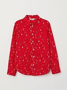 Bavlněná košile s vánočním motivem, dostupná ve velikostech 92–140 (299 korun)